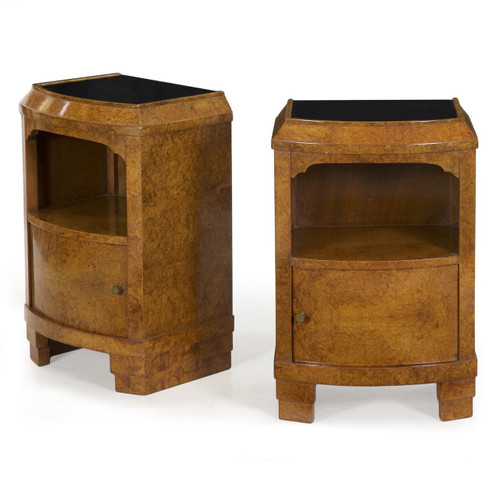 These very attractive and relatively uncommon pair of Art Deco nightstands are dressed in a vivid English Elm veneer, known as Carpathian Burl when cut to this dramatic effect.