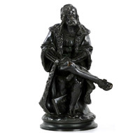 A simply exquisite and rather rare cabinet bronze sculpture capturing the seated figure of Albrecht Durer, the level of attention to detail achieved in such a small footprint is noteworthy.
