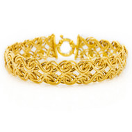 "Italian 14K Yellow Gold Woven Swirl Bracelet | 7"" long"