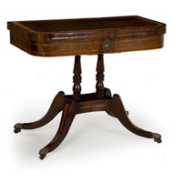English Regency Rosewood and Brass Card Table circa 1815