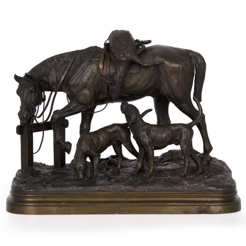 """""""After the Hunt"""", bronze sculpture 