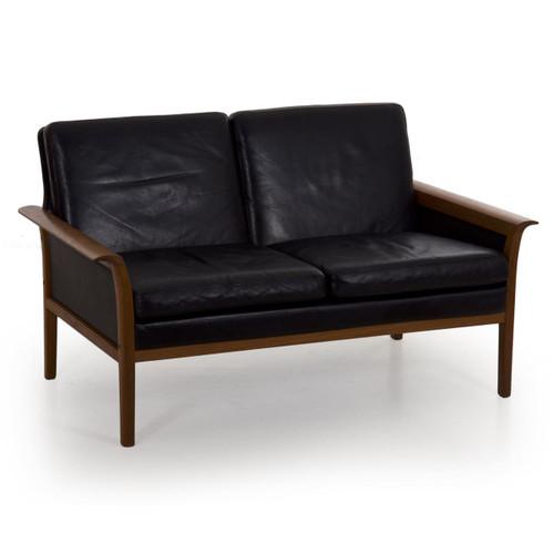 Mid Century Modern Hans Olsen for Vatne Møbler Teak and Black Leather Loveseat Sofa