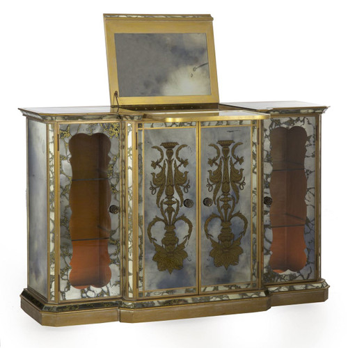 Art Deco Lighted Eglomisé Console Bar Cabinet circa 1940's