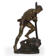 """Laborer"", bronze sculpture | Edouard Drouot (French, 1859-1945)"