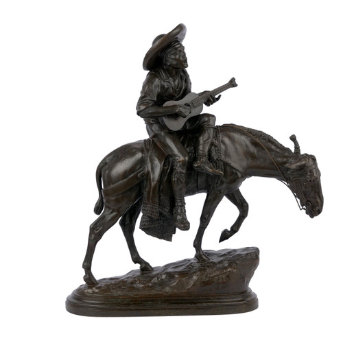"""Spanish Guitar Player"", bronze sculpture | Isidore Bonheur & Peyrol"