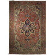 A Worn Room Size Antique Persian Serapi Heriz Rug circa 1900