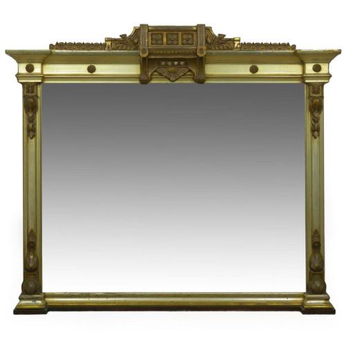Aesthetic Movement Silver Giltwood Mantel Mirror c. 1870-90