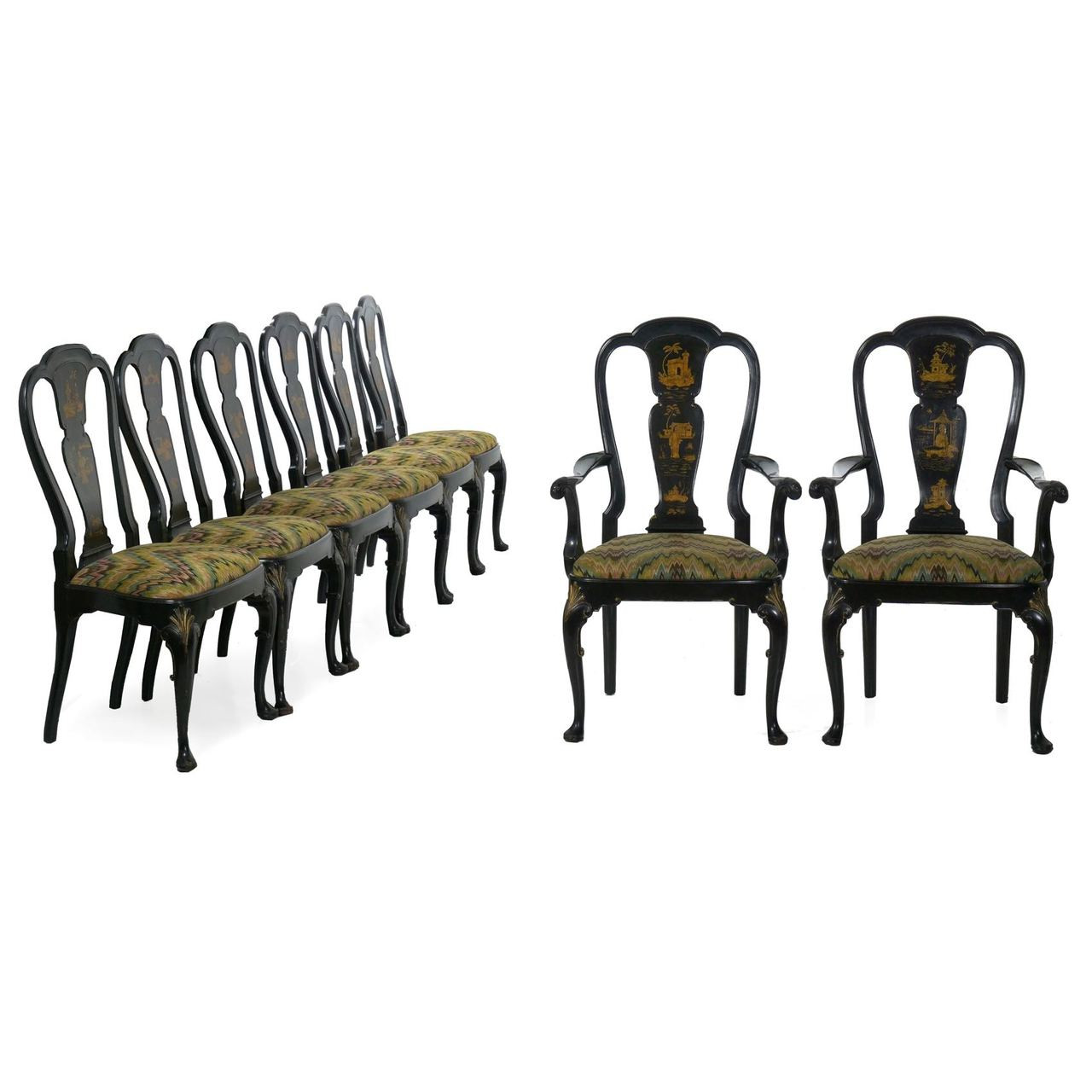 Set Of Eight Queen Anne Style Black Lacquer Chinoiserie Dining Chairs