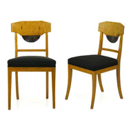 Pair of Biedermeier Parcel Ebonized Birch Side Chairs, 19th Century