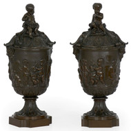 Napoleon III Pair of Bronze Bacchanalia Urns, 19th Century