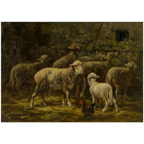 """""""Sheep in Stable"""", oil painting 