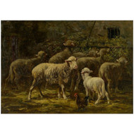 """Sheep in Stable"", oil painting 