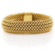 14K Yellow Gold Woven & Polished Bracelet | Circa 1960s