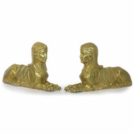 Pair of Egyptian Revival Cast Brass Sphinx Figural, 19th Century