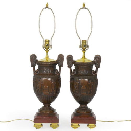Pair of Classical Bronze Amphora Lamps over Rouge Marble c. 1900