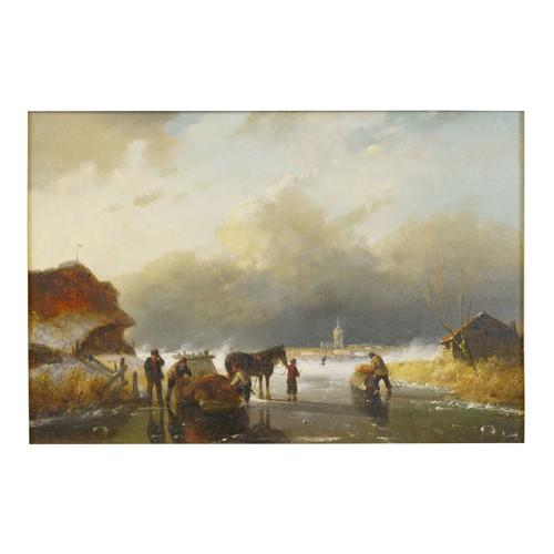 """Figures on Frozen Lake"", winter landscape painting | Dutch School"