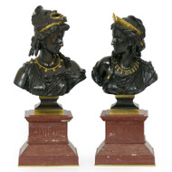 """Comedie & Tragédie"", pair of bronze busts 