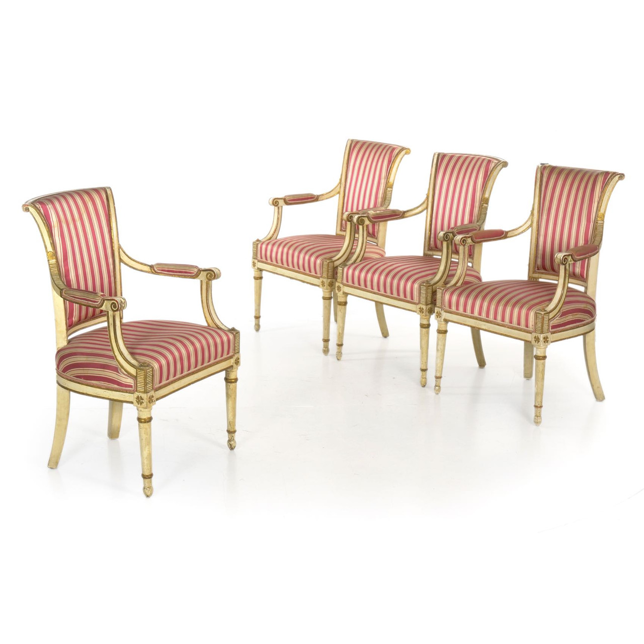 Set Vintage Fauteuils.Set Of Four Directoire Painted Fauteuils Continental 19th Century