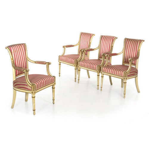 Set of Four Directoire Painted Fauteuils | Continental, 19th Century