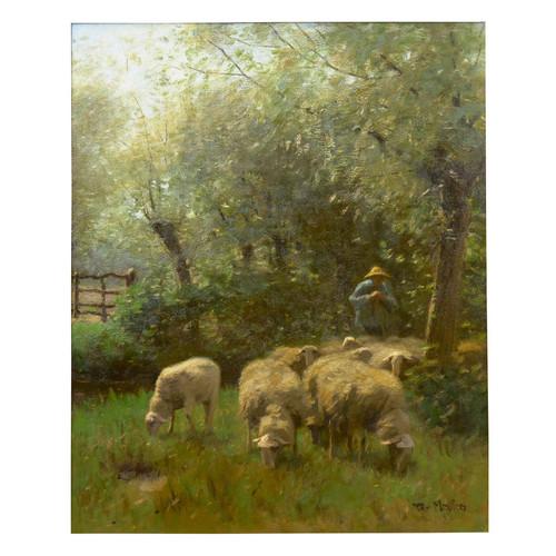 """Shepherd & Flock"", oil on canvas | Francois Pieter ter Meulen (Dutch, 1843-1927)"