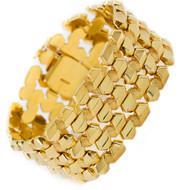 "Vintage Italian 14k Gold Flexible Strap Bracelet   7 1/8"" long, 40.5 grams"