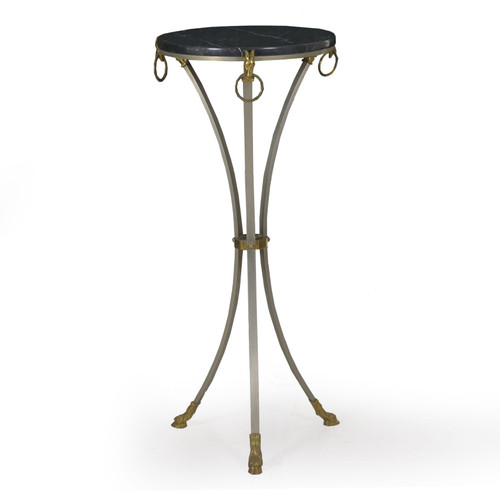French Neoclassical Steel, Brass and Marble Accent Table