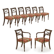 Set of Eight English Regency Carved Mahogany Dining Chairs c. 1810