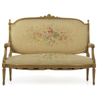 Fine Louis XVI Style Giltwood and Aubusson Settee | Paris, c. 1900