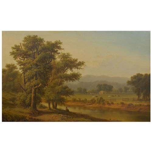 Hudson River Valley Landscape Painting of Farm Views | 19th Century