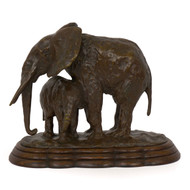 """Elephant with its Young"", bronze sculpture 