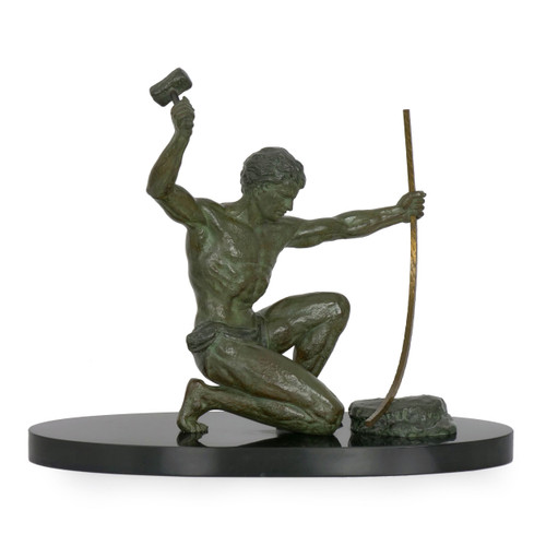 Art Deco Sculpture of Man Hammering Brass | Circa 1930s