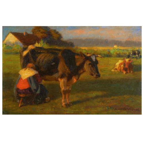 """Milking Time"", oil painting | Albert Reibmayr (Austrian, 1881-1941)"
