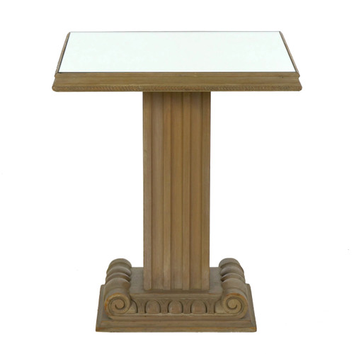 Art Deco Style Carved Wood and Mirrored Accent Table