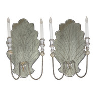 Pair of Venetian Style Eglomisé Wall Sconces, 20th Century