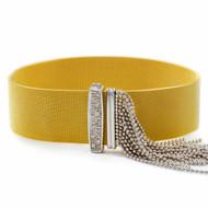 Woven Gold and Diamond Buckle & Tassel Bracelet   Circa 1950s