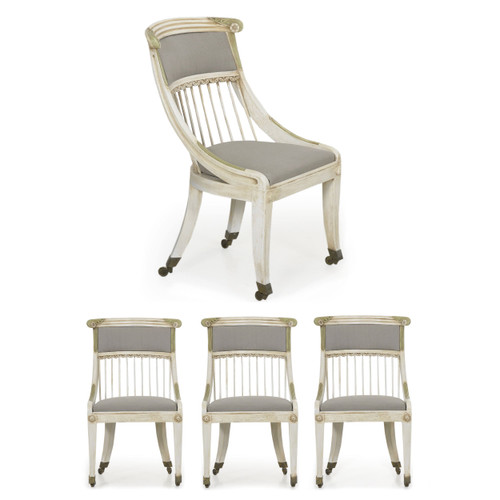 Set of Four Neoclassical Painted Side Chairs | 20th Century