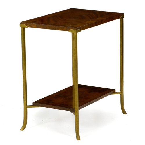 Mahogany and Flared Brass Two-Tier Accent Table