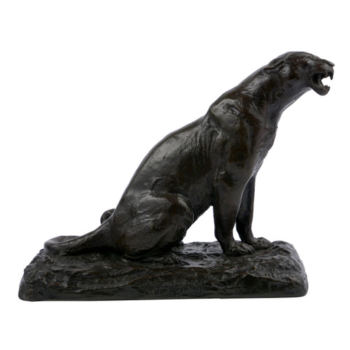"""Roaring Panther"", bronze sculpture 