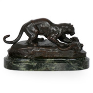 """Panther Attacking a Civet"", bronze sculpture 
