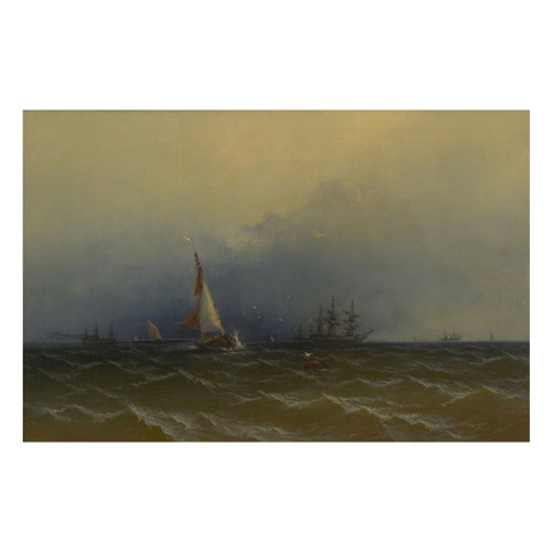"""Channel Scenery - Showery Weather"" (1864), seascape painting 
