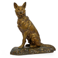 """Berger Allemand Assis"" (German Shepherd), bronze sculpture 
