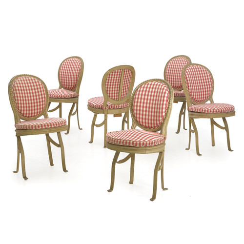 French Belle Époque Gray Painted Theatre Chairs | Set of 6