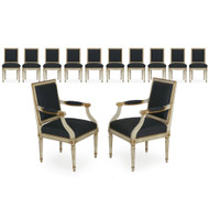 French Louis XVI Style White Painted Dining Chairs - Set of 12