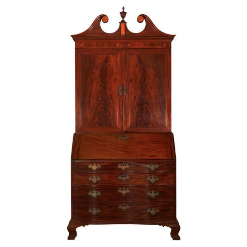 Chippendale Mahogany Bookcase on Oxbow Desk | Massachusetts c. 1780