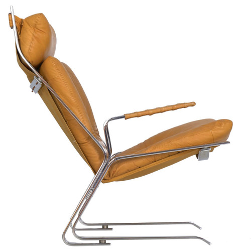 """""""Pirate"""" Chrome and Leather Lounge Chair by Elsa & Nordahl Solheim"""