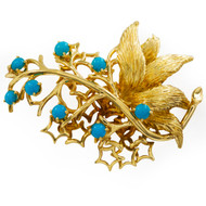 Vintage 18K Yellow Gold & Turquoise Brooch | 18.8 grams