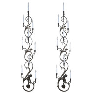 Pair of Wrought Iron Nine-Candle Wall Sconces