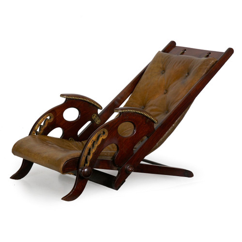 British Reclining Leather Campaign Chair | 19th Century
