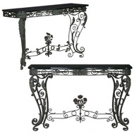 Pair of Wrought Iron Black Marble Console Tables | 20th Century