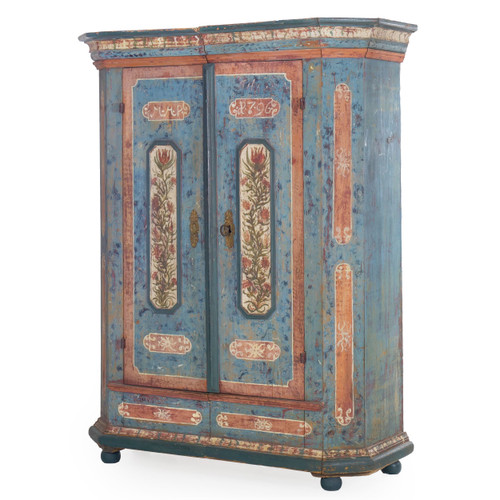 Bavarian Painted Schrank Armoire Cabinet | Dated 1796